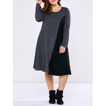 Plus Size Long Sleeve Two Tone Casual Dress