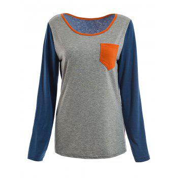 Women's Casual Colormatching Long Sleeved T-Shirt With Pocket