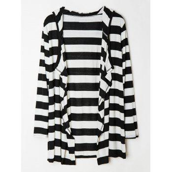 Stylish Women's Hooded Striped Long Sleeves Loose-Fitting Cardigan