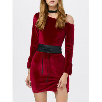 Cold Shoulder Velvet Mini Dress