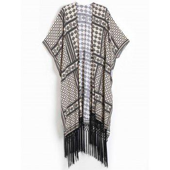Women's Geometric Print Fringed Design Short Sleeve Kimono Blouse
