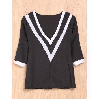 Trendy Plunging Neck 3/4 Sleeve Striped Loose-Fitting T-Shirt Women's T-Shirt