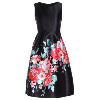 Retro Style Women's Round Collar Flower Print Sleeveless Dress