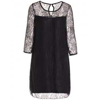 Fashionable Round Collar 3/4 Sleeve Lace Spliced See-Through Women's Dress