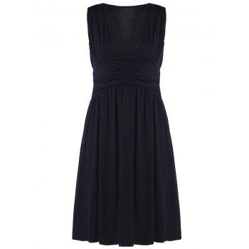 Sexy Sleeveless Plunging Neck Solid Color Women's Midi Dress