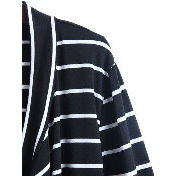 Casual Collarless Striped Long Sleeve Women's Cardigan - COLORMIX L