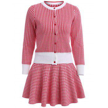 Houndstooth Button Up Jakcet With Knit Skirt