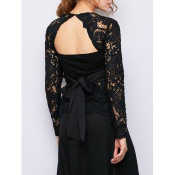See Through Self-Tie Lace Backless Top