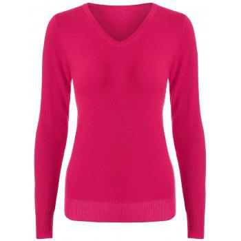 Pullover Long Sleeve V Neck Knitwear