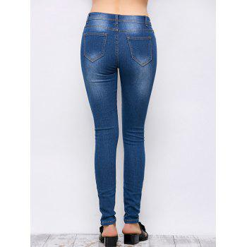 Mid Rise Ripped Skinny Jeans - BLUE S