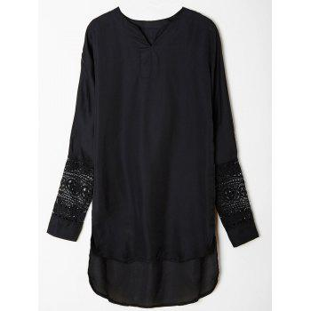 Casual Long Sleeve V-Neck Asymmetrical Lace Spliced Women's Dress