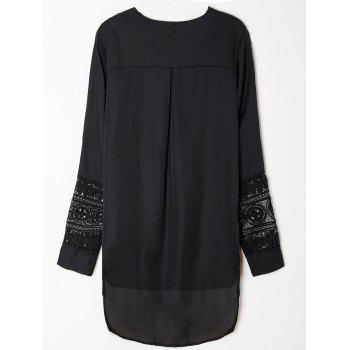 Casual Long Sleeve V-Neck Asymmetrical Lace Spliced Women's Dress - BLACK XL