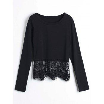 Chic Round Collar Long Sleeve Lace Spliced Pure Color Women's Crop Top