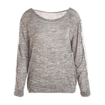 Casual Style Long Sleeve Scoop Neck Color Block Spliced Women's T-Shirt