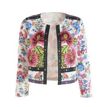 Retro Style Women's 3/4 Sleeves Floral Print Jacket