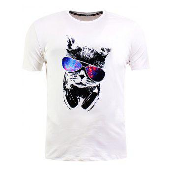 Short Sleeve Sunglasses Cat Print T-Shirt