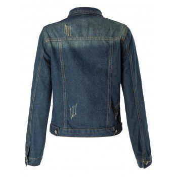 Stylish Turn-Down Collar Frayed Single-Breasted Long Sleeve Women's Denim Coat - XL XL