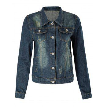 Stylish Turn-Down Collar Frayed Single-Breasted Long Sleeve Women's Denim Coat - DEEP BLUE XL