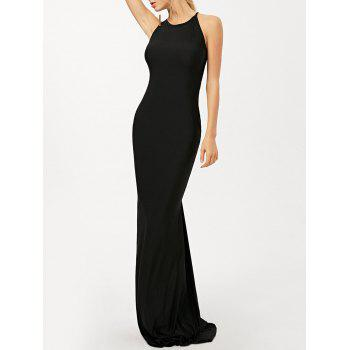 Ruched Criss Cross Maxi Trumpet Dress