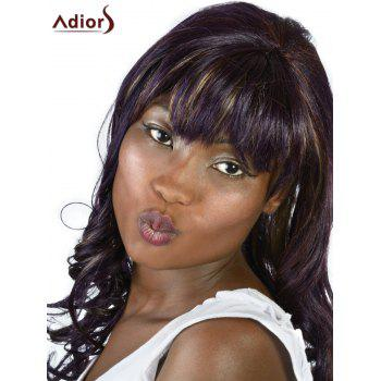 Adiors Long Neat Bang Highlight Fluffy Wavy Synthetic Wig