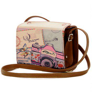 Sweet Camera Print and PU Leather Design Crossbody Bag For Women - BROWN BROWN