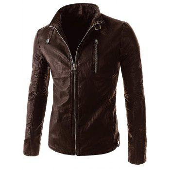 Belt Embellished Stand Collar PU-Leather Zipper Long Sleeve Men's Jacket