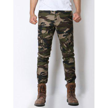 Camo Pockets Design Zipper Fly Cargo Pants