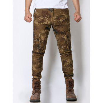 Camouflage Pockets Design Zipper Fly Cargo Pants
