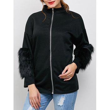 Zipper Faux Fur Drop Shoulder Jacket