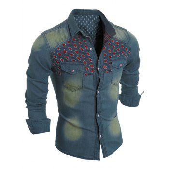 Long Sleeve Distressed Flower Pocket Denim Shirt