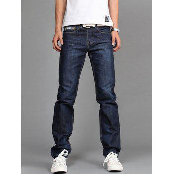 Scratched Plaid Pocket Straight Fit Jeans