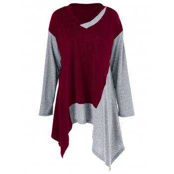 Plus Size Color Block Asymmetrical T-Shirt