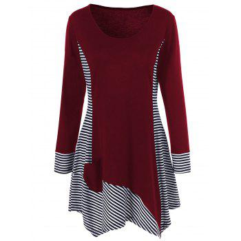 Single Pocket Striped Trim Asymmetrical Longline T-Shirt