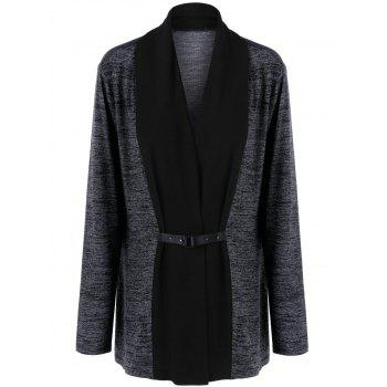 Plus Size Two Tone Cardigan with Buckle
