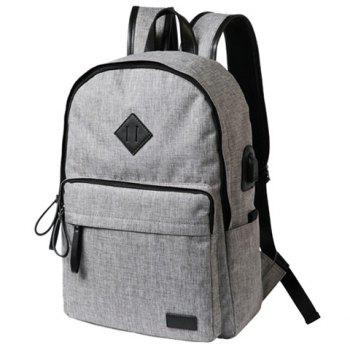 Zipper Canvas Backpack -  GRAY