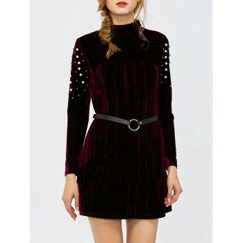 Velvet High Neck Faux Pearl Belted Dress