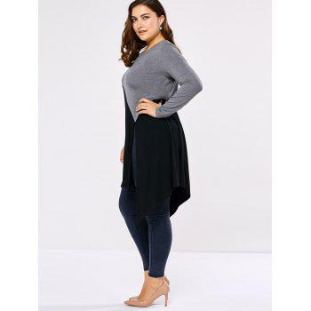 Plus Size Side Slit Asymmetric T-Shirt - BLACK/GREY BLACK/GREY