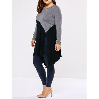 Plus Size Side Slit Asymmetric T-Shirt - BLACK AND GREY BLACK/GREY