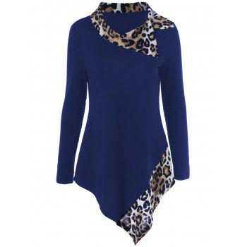 Leopard Panel Asymmetrical T-Shirt