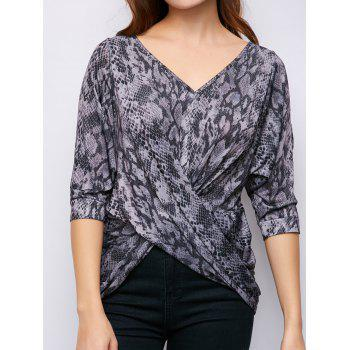 Split Sleeve V Neck Twist Front Top