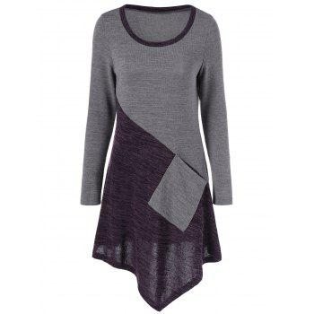 Asymmetric Hem Knitted Top with One Pocket