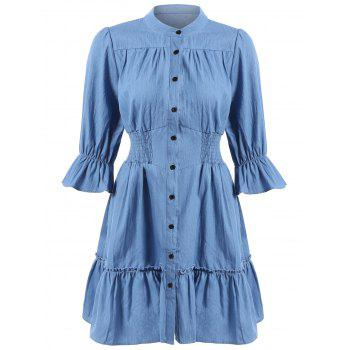 Button Up Flounce High Waisted Dress