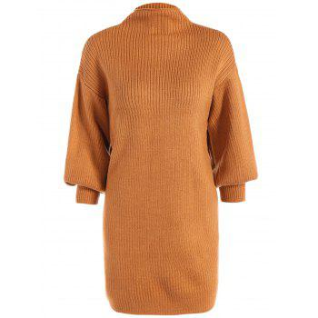 High Neck Ribbed Min Sweater Dress - ORANGE ONE SIZE