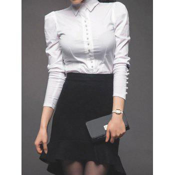 Bowknot Shirt and Asymmetrical Mermaid Skirt Twinset - WHITE AND BLACK WHITE/BLACK