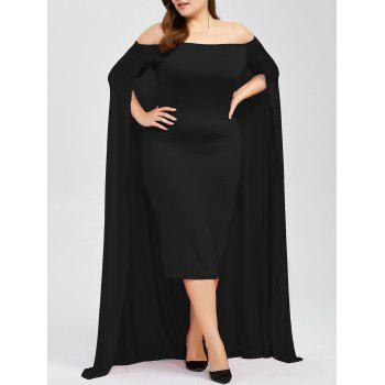 Off The Shoulder Plus Size Maxi Long Prom Caped Dress