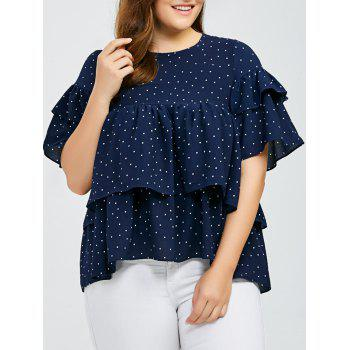 Plus Size Polka Dot Flounced Layered Blouse