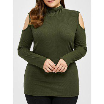 Plus Size Turtleneck Cold Shoulder Sweater