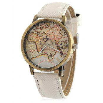 Faux Leather World Map Quartz Watch - WHITE WHITE