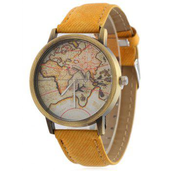 Faux Leather World Map Quartz Watch - YELLOW YELLOW
