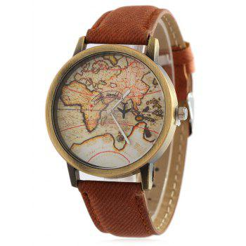 Faux Leather World Map Quartz Watch